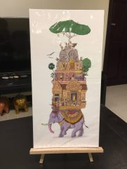 This artwork features some of the most famous temples in the ancient capital of the Angkor Empire.